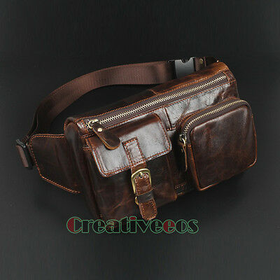 Men Oil Wax Genuine Leather Travel Vintage Cell Phone Belt Fanny Pack Waist Bag
