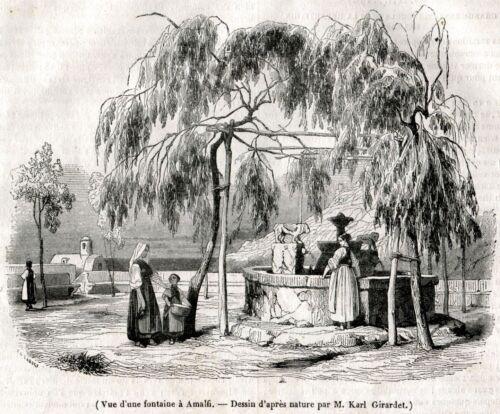 Passepartout Golfo di Salerno Stampa Antica Ravello: Fontana Moresca 1842