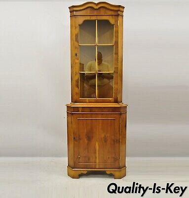 Vintage English Georgian Yew Wood Small, China Corner Cabinet