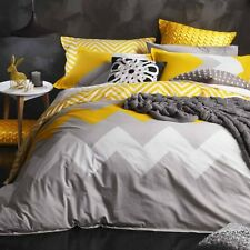 6pc Logan And Mason Marley Yellow Chevron Queen Size Doona Duvet Quilt Cover Set
