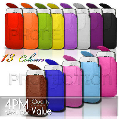 MAGNET BUTTON LEATHER PULL TAB CASE POUCH FITS VARIOUS SAMSUNG PHONES/MOBILES