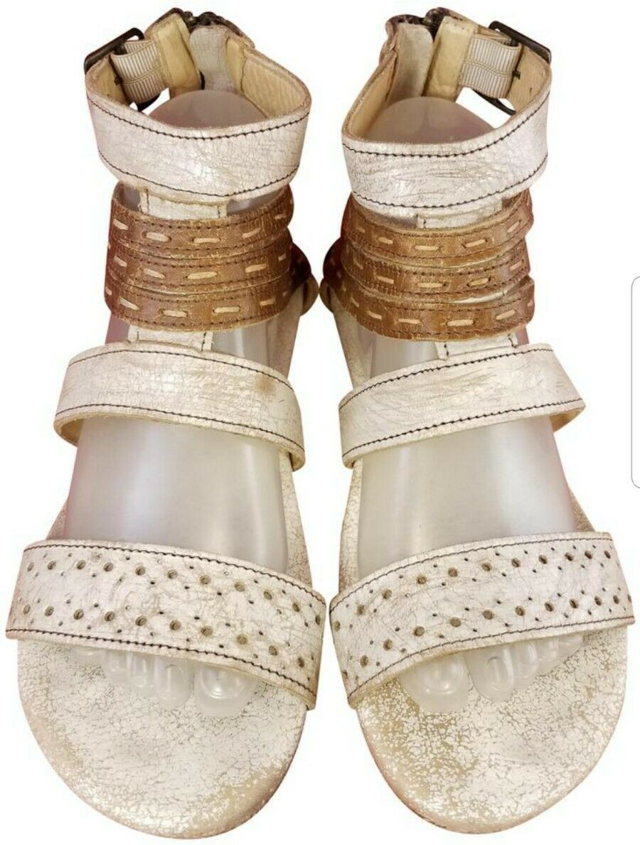BEDSTU BED STU WOMAN SANDALS GLADIATOR BEIGE BROWN LEATHER SIZE 9