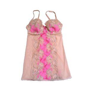 Victoria-039-s-Secret-Lingerie-Pink-Beige-Bustier-Rhinestones-Bling-Garters-Vs-New