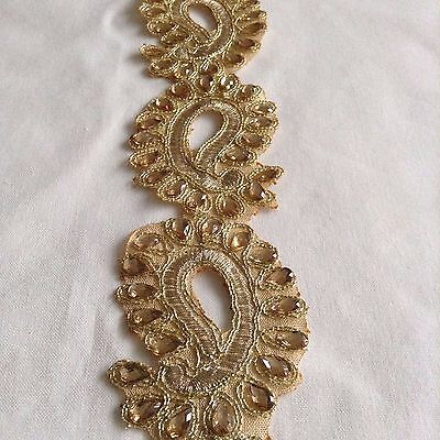 Fancy Beaded Indian VINTAGE Gold Lace Trim Wedding Sewing Dress Craft Trimmings