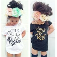 Summer Kids Clothes Baby Toddler Girls Cotton Short Sleeve T-shirt Tops Loose