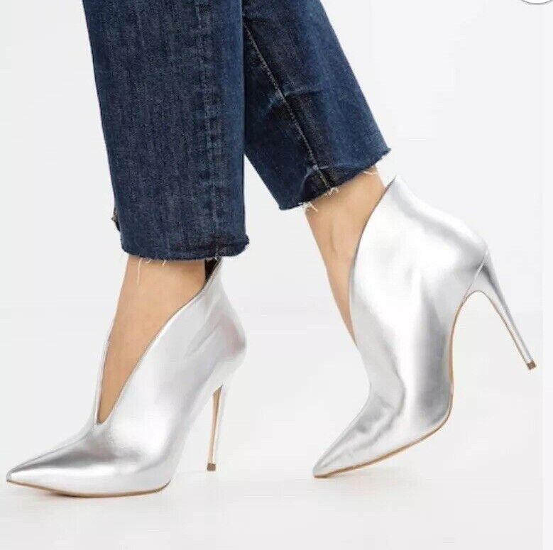 Aldo Ladies Meledith Silver Heeled Booties Uk4