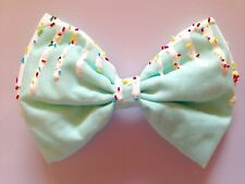 Mint Green Dripping Sprinkles Hair Bow Fairy Kei Kawaii Pastel Sweet Lolita Cute