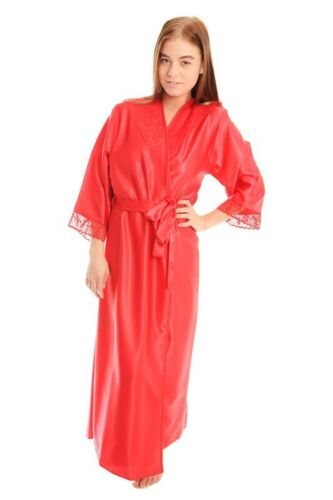Ladies satin long Nightgown robe wrap lace detail 10 to plus 22 many colours