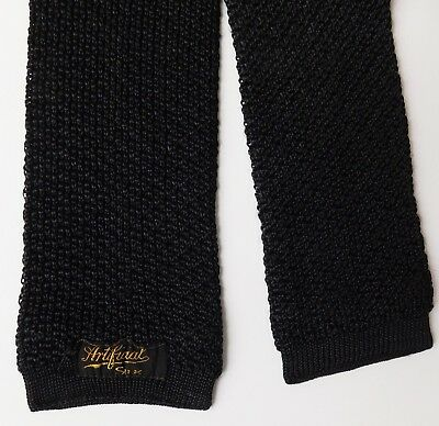 Artificial Silk black knitted square end tie Vintage Art Deco pre-war classic