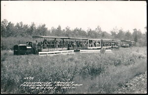 NEWBERRY-MI-Toonerville-Trolley-Tahqumenon-River-Trip-Vintage-RPPC-Postcard-Old