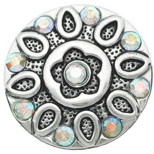 5 Antik Silber Gravur Blumen Form mit Strass Klicks Druckknöpfe 20mm