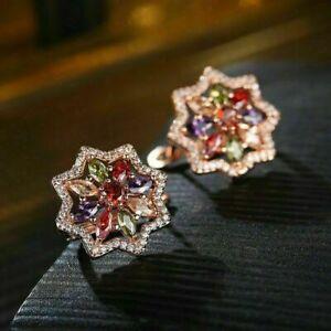 Hexagram-Natural-Morganite-Amethyst-Garnet-Rose-Gold-Plated-Flower-Stud-Earrings