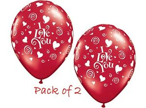 """""""I Love You"""" Printed Latex Balloons with Swirling Hearts 28cm  2pk for $1.50"""