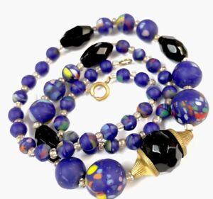 Vintage-Matt-Blue-Millefiori-Style-Glass-Bead-17-Necklace-GIFT-BOXED