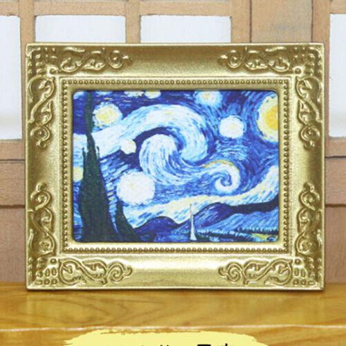 1:12 Dollhouse Miniature Frame Oil Painting DIY Doll House Accessories De EW