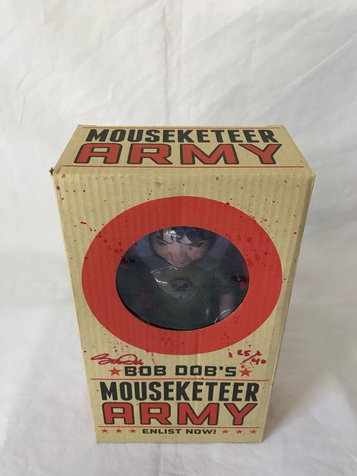 BOB DOB'S MOUSEKETEER ARMY SIGNED 2X  40  RED SPLATTER & RED BAT  SUPER RARE