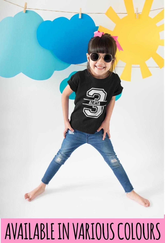 3rd Birthday Personalised Kids Tshirt Birthday 3 Childs Age Gift Party Children