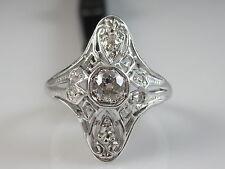 Antique Old European Cut Diamond Ring Platinum Art Deco Vintage Estate Size 5.5