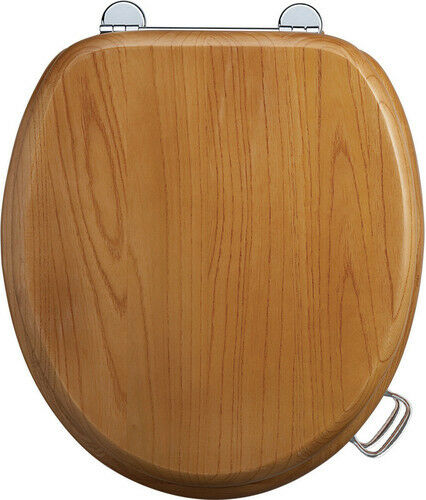 Burlington Wooden Oak Traditional Toilet Seat S11, With or Without Handles