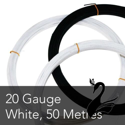 20 Gauge - White Cotton Covered Wire for Millinery Craft Pliable Price for