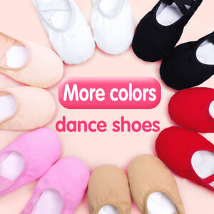 Girls-Soft-Ballet-Slippers-White-Ballet-Dance-Shoes-Gymnastics-Training-Shoes-8