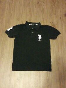 Mens-Embroidered-USPA-Polo-Shirt-Large-Pony-Short-Sleeve-US-Polo-Assn-Black-Sz-S
