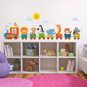 R00415 wall stickers adesivi murali camerette trenino animaletti 120x30 cm ebay - Adesivi murali per camerette ...