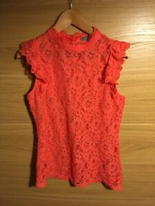 Ladies Oasis Coral Lace Top Size Med New Without Tags