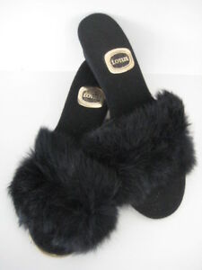 764b60f66db33 Details about LOTUS VINTAGE RETRO SEXY BLACK OPEN TOE FLUFFY FUR MULE  SLIPPERS MADE UK size 6