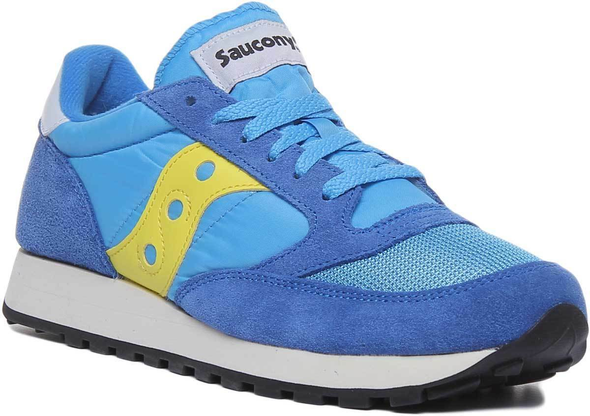 Saucony Jazz Original Vintage Women Suede Canvas bluee Yellow Trainers UK Size 3