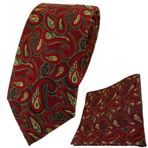 Einstecktuch in rot gold grün schwarz Paisley TigerTie Krawatte