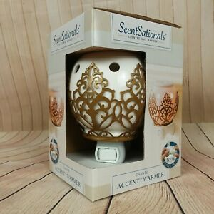 ScentSationals-Wax-Warmer-Plug-In-White-Ball-with-Gold-Metal-Scroll-B331
