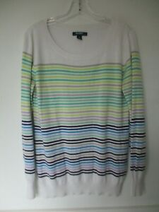 Old-Navy-Women-039-s-Size-Medium-Cotton-Long-Sleeve-Multi-Color-Striped-Blouse