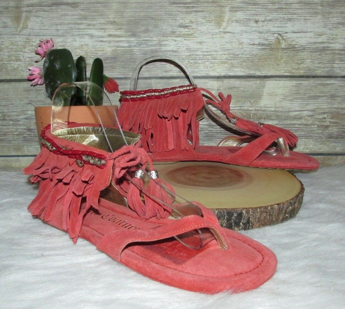 Juicy Couture Ollie orange Red Suede Fringe Leather Flip Flop Thong Sandals 7M