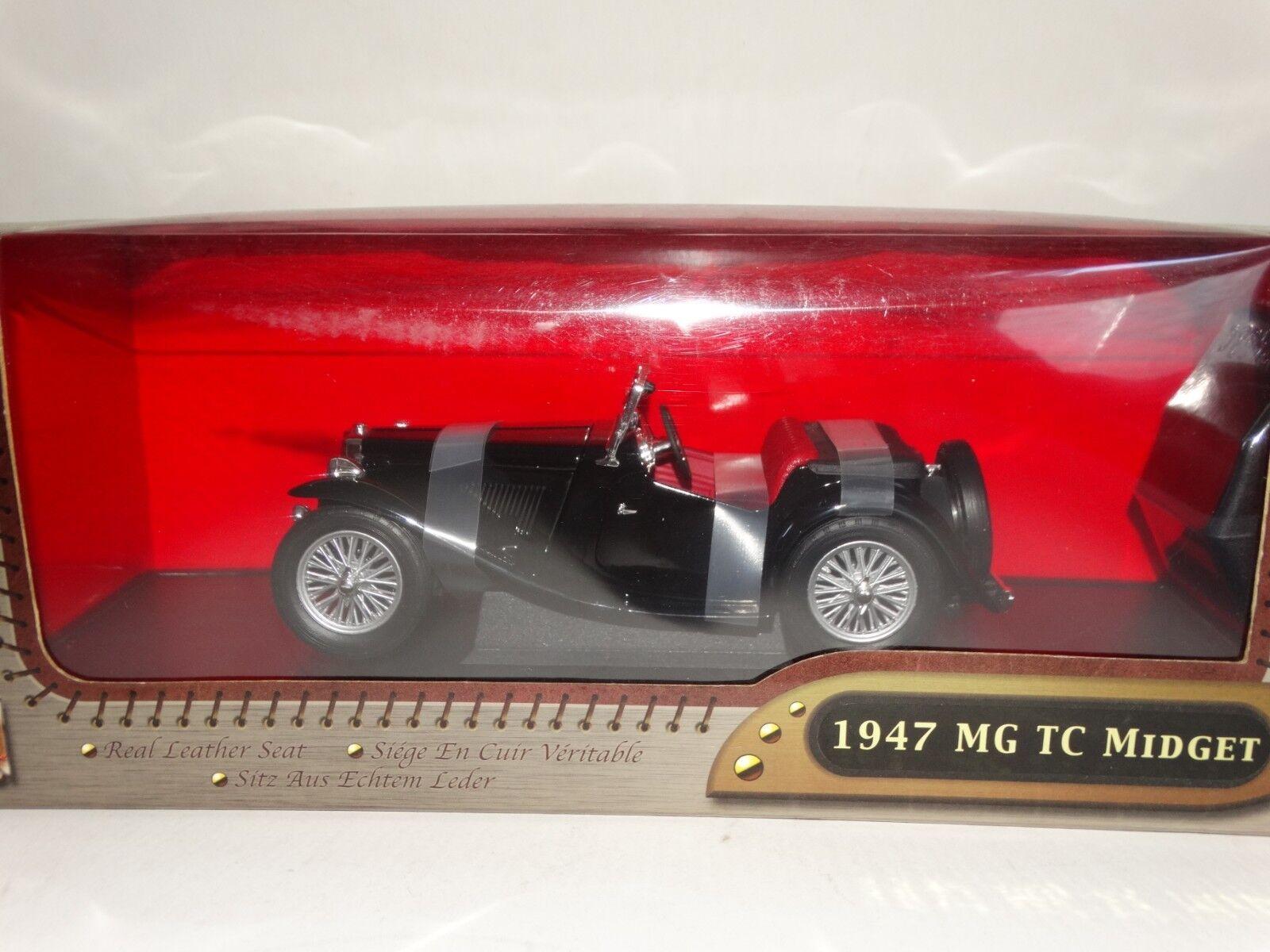 ROAD SIGNATURE 1947 MG TC Midget Roadster noir échelle 1 18 Diecast Voiture Modèle