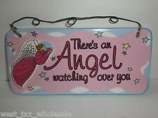 There's An Angel Watching Over You Pink Girls Hanging Wall Plaque Gift Set of 2