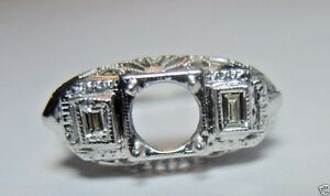 Antique-Art-Deco-Diamond-Engagement-Setting-Mounting-18K-Hold-6MM-Ring-Size-6