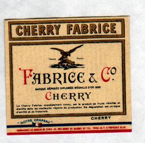 ETIQUETTE-Chromo-ANCIENNE-de-Liqueur-CHERRY-FABRICE-illustree