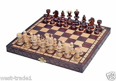 Brand New ♞ Hand Crafted Pearl  Wooden Chess  Set 30cm x 30cm ♜