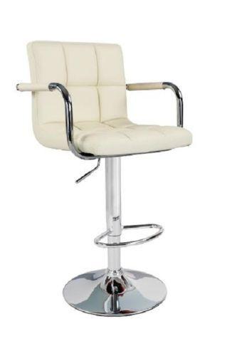 Crème Havane tabouret de bar cuisine petit déjeuner en faux cuir chaise haute siège