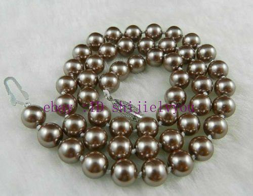 "8mm Silver Champagne South Sea Shell Pearl Necklace 18/"" AA"