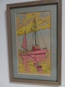 Frederick-Detwiller-1945-Harbor-Scene-with-Ships-at-Sunset-Serigraph-034-Jackie-B-034