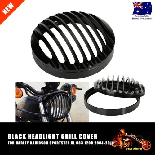 """5.75/"""" CNC Black Headlight Grill Cover for Harley FX XL883 XL1200 SPORTSTER DYNA"""
