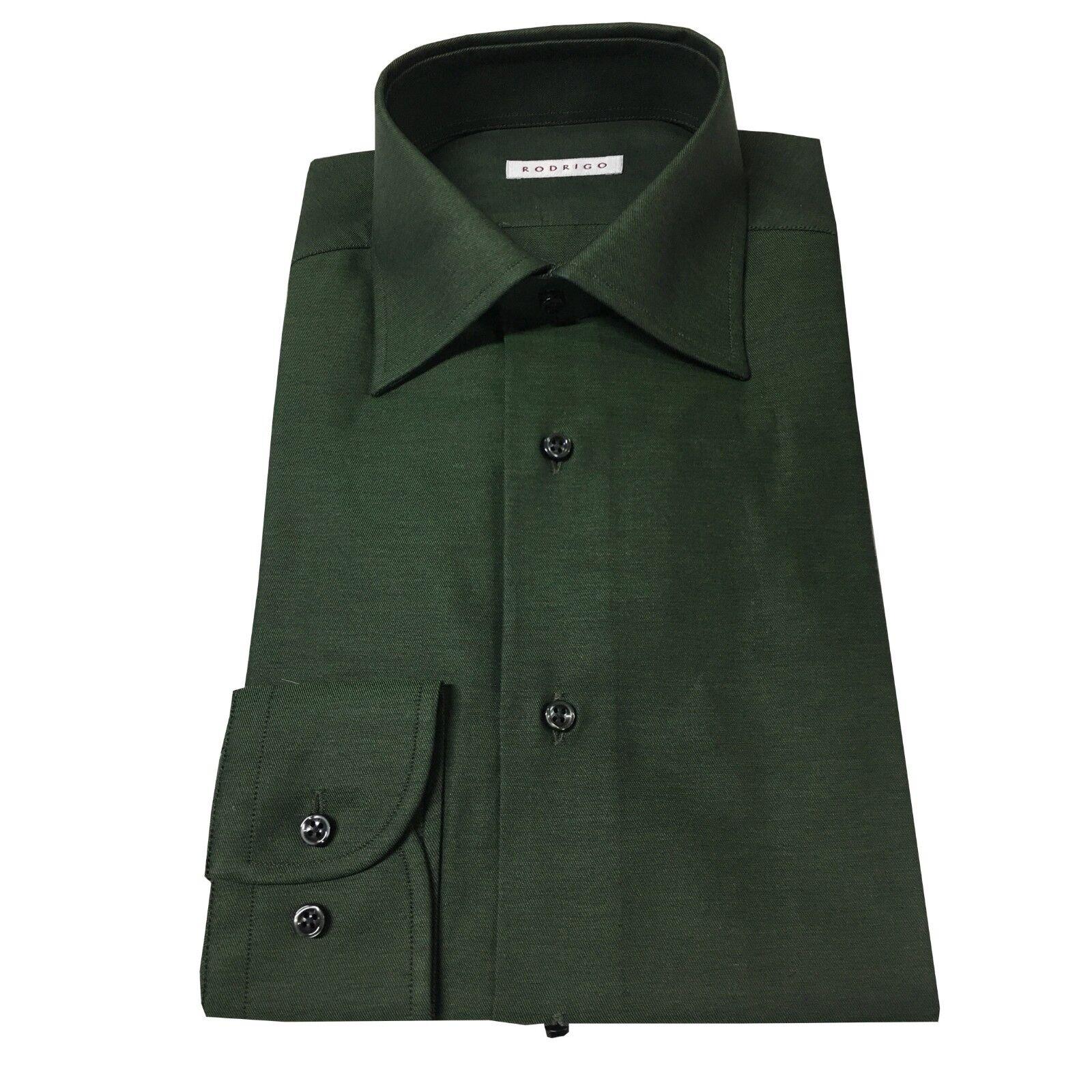 RODRIGO camicia uomo verde JE95 100 % cotone vest. regolare MADE IN ITALY