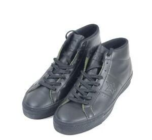 Converse One Star Pro Mid Triple Black Leather Shoes 155518C Men Sz ... 8a6d2e978