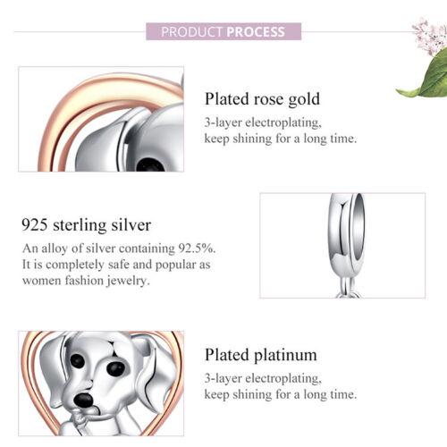 S925 Sterling Silber DIY Charm Netter Welpe Gold Herz f¨¹r europ?ische Armband