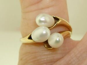 UNIQUE-14K-SOLID-GOLD-3-LUSTROUS-CREAMY-FRESHWATER-DROP-PEARLS-RING-SZ-5