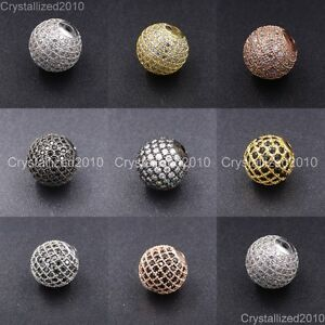 Zircon-Gemstones-Pave-Round-Ball-Bracelet-Connector-Charm-Beads-Silver-Gold-Rose