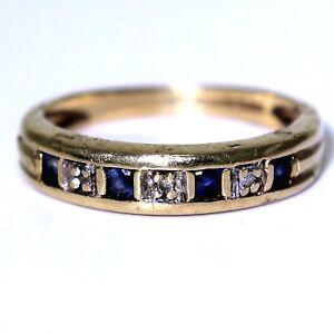 Princess-Sapphire-amp-Diamond-Half-Eternity-9ct-Yellow-Gold-ring-L-5-3-4