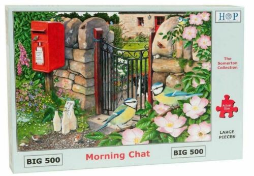 Details about  /House of Puzzles BIG 500 piece jigsaw puzzle MORNING CHAT blue tit dog postbox